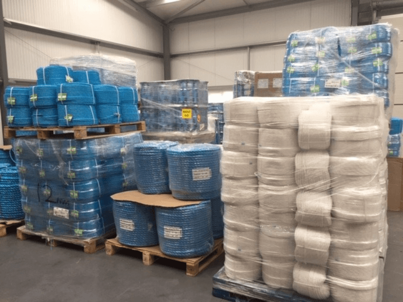 Blue and white polypropylene ropes in RopesDirect warehouse