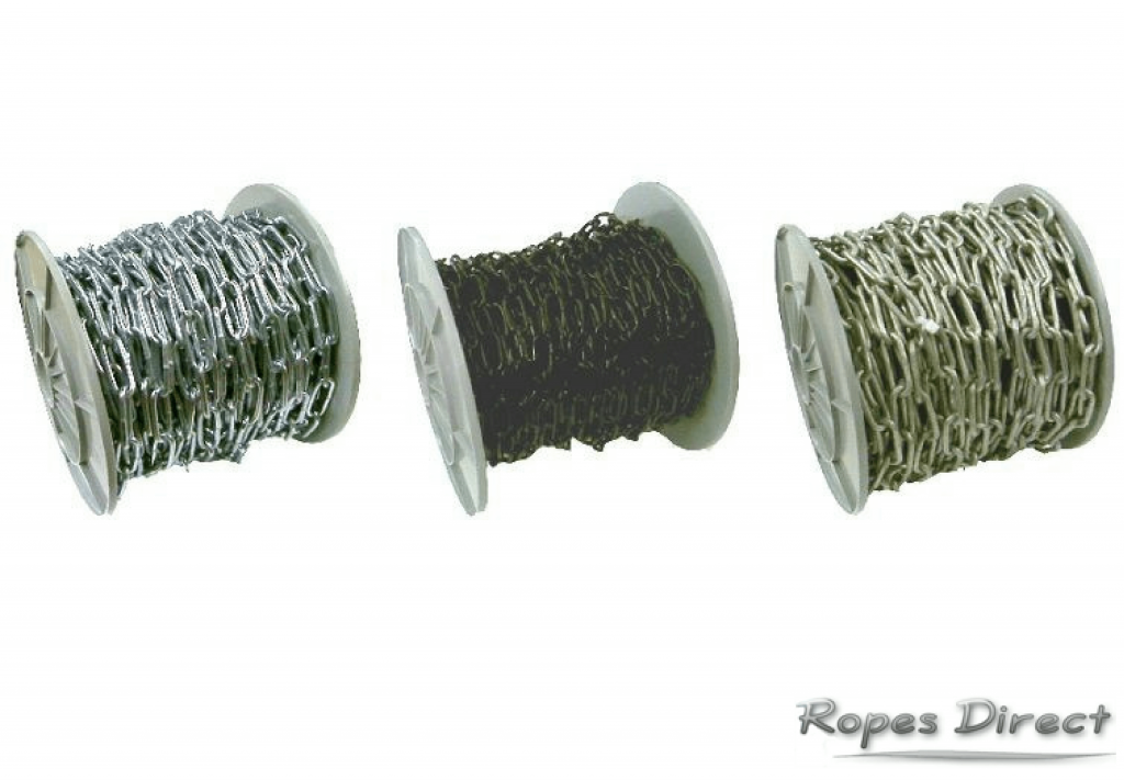 3 reels of different steel chain