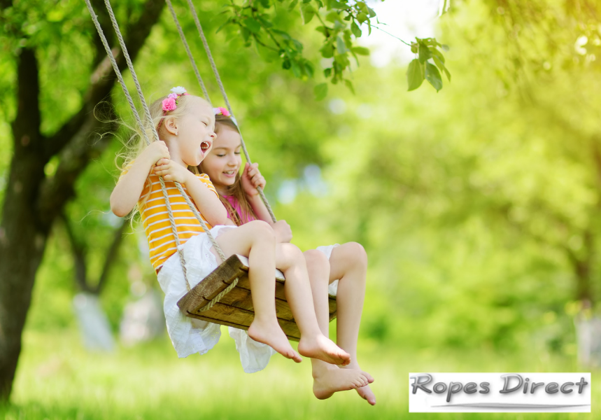 two children playing on a tree swing in back garden