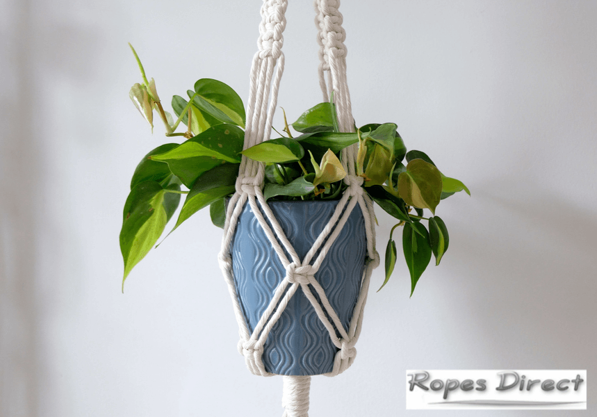 hanging plant pot created with macrame cotton rope