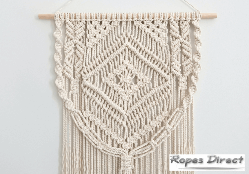 wall decor created with macrame rope