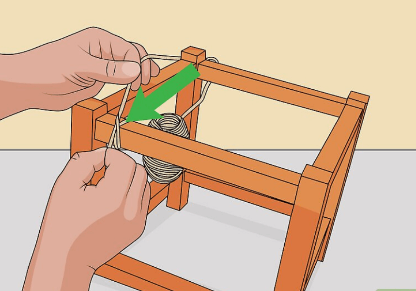 Diagram to show how to start making a rope chair