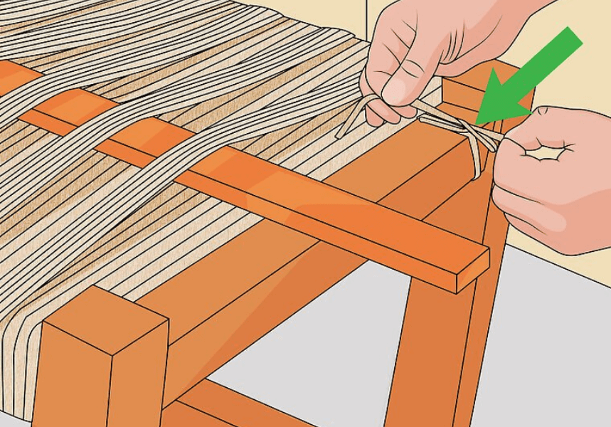 Diagram to show how to start the second section of a rope seat