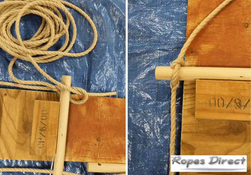 photos to demonstrate how to make a rope ladder