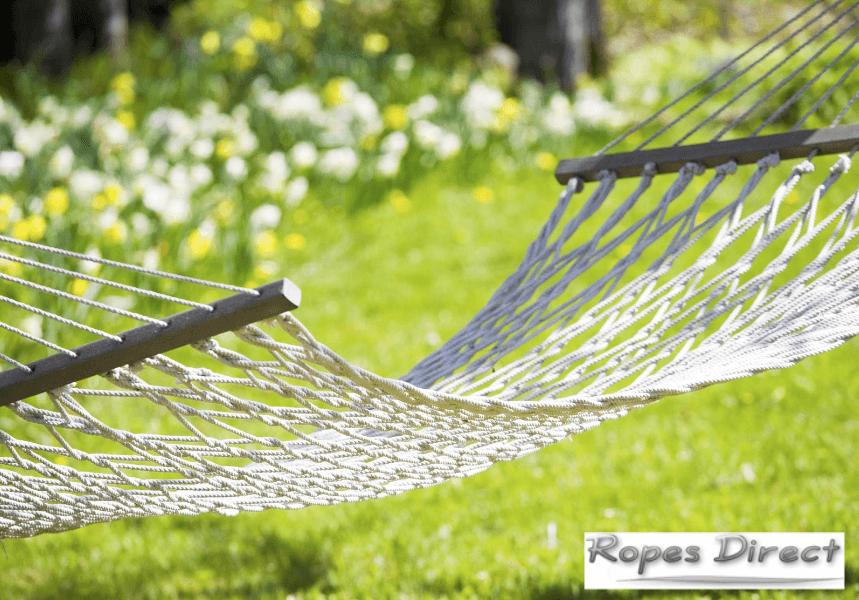 Rope hammock in a garden