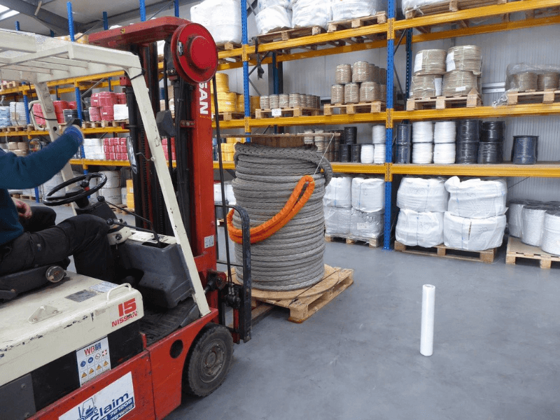 Forklift truck with Dyneema reel in RopesDirect warehouse
