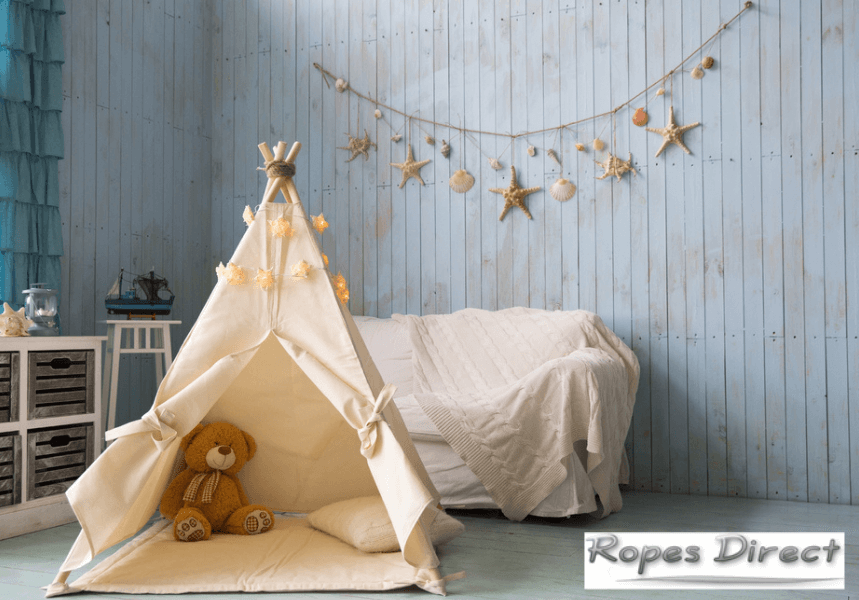 Example of kids teepee made using rope from RopesDirect