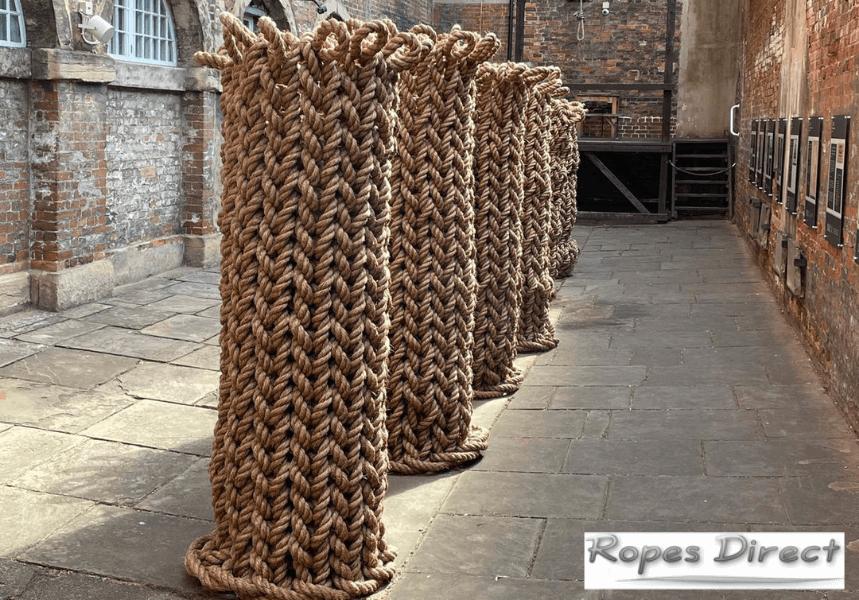 Art installation made using manila rope