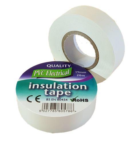 19mm x 20m White PVC Electrical Tape