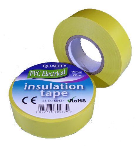 19mm x 20m Yellow PVC Electrical Tape