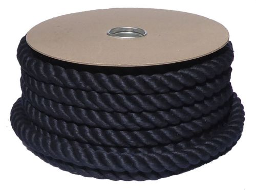 32mm Black PolyCotton Barrier Rope - 24m coil