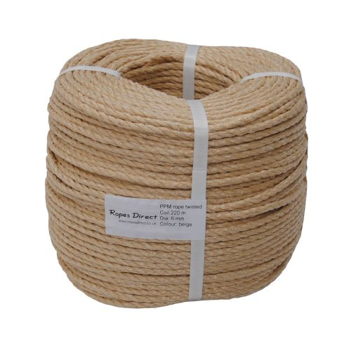 6mm Beige Polypropylene Rope sold by the 220m coil