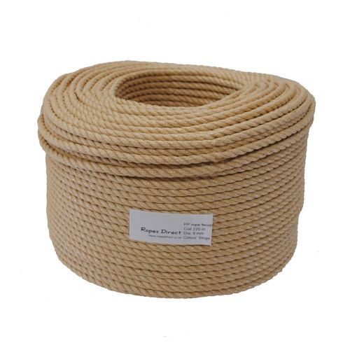 8mm Beige Polypropylene Rope sold in a 220m coil