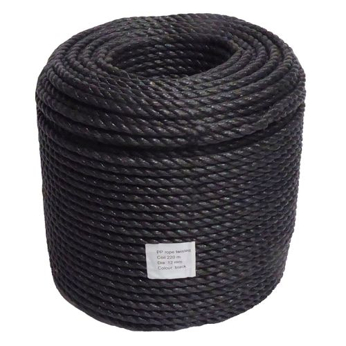 10mm Black Polypropylene Rope sold on a 220m coil