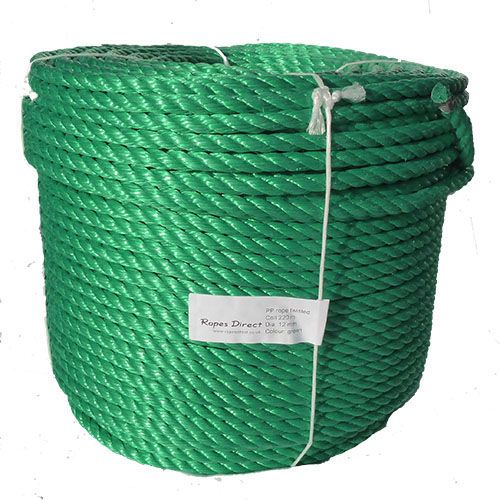 10mm Green Polypropylene Rope sold by the 220m coil