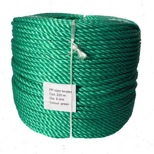 8mm Green Polypropylene Rope sold by the 220m coil