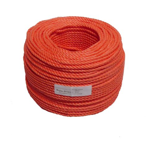 8mm Orange Polypropylene Rope sold by the 220m coil