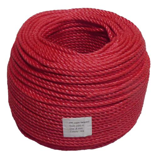 8mm Red Polypropylene Rope sold by the 220m coil