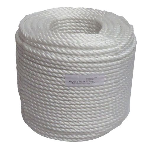 12mm White Polypropylene Rope - 220m coil