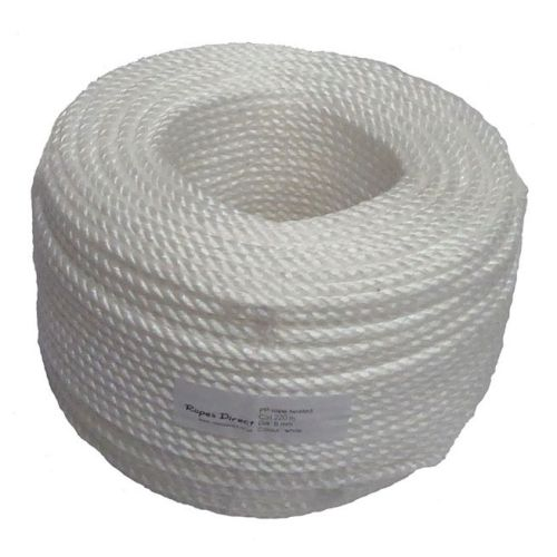 8mm White Polypropylene Rope - 220m coil