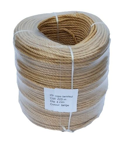 4mm Beige (Fawn) Rope sold in a 220m coil