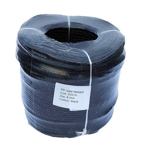 4mm Black Polypropylene Rope sold in a 220m coil
