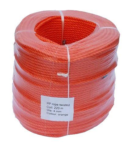 4mm Orange Polypropylene Rope sold in a 220m coil