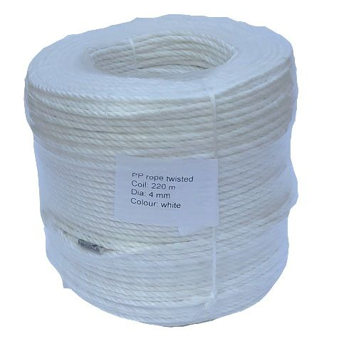 4mm White Polypropylene Rope - 220m coil
