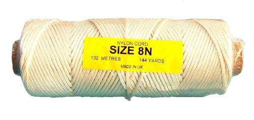 8N (3.2mm) White Nylon Cord - 132m