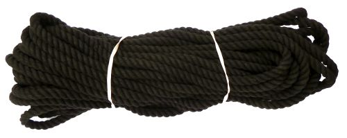 10mm Black Dyed Cotton Rope - 24m coil