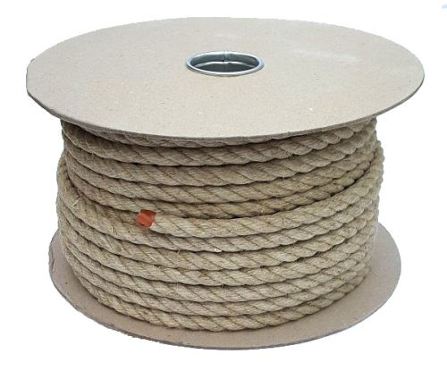 14mm Natural Flax Hemp Rope sold on a 40m reel