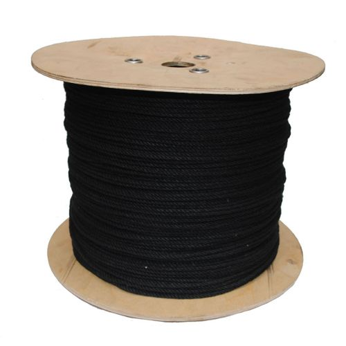 6mm Black PolyCotton Rope sold on a 220m reel