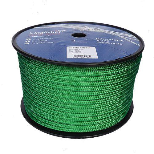 10mm Green Braid on Braid Polyester - 100m reel