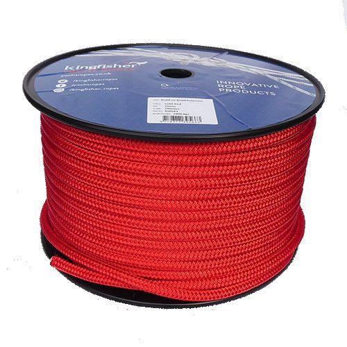 10mm Solid Red Braid on Braid Polyester - 100m reel