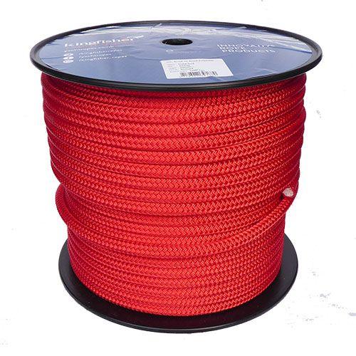 12mm Solid Red Braid on Braid Polyester - 100m reel