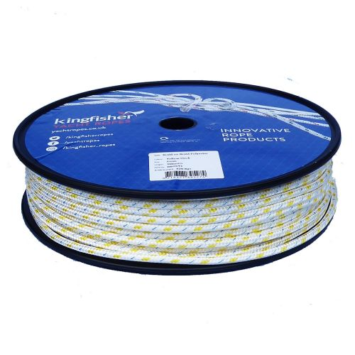6mm Braid on Braid Yellow Fleck Polyester rope 100m reel