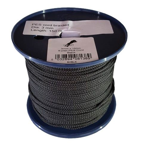 3mm x 150m Black 8-plait Polyester Cord