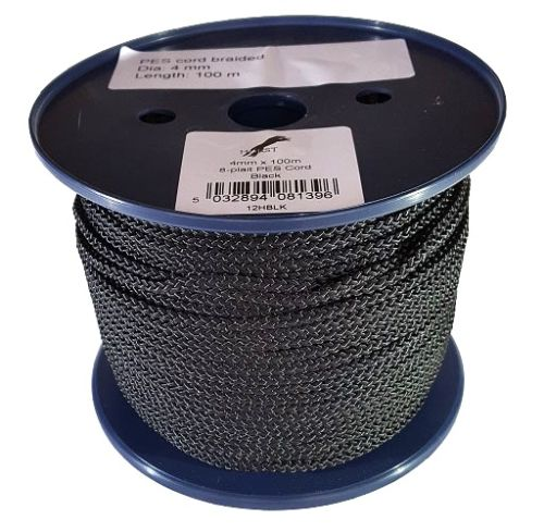 4mm Black 8-plait Polyester Cord - 100m Reel