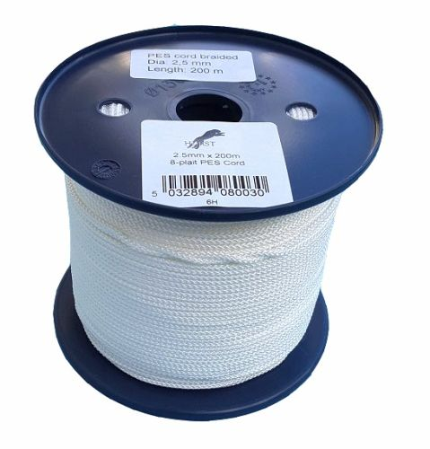 2.5mm x 200m White 8-plait Polyester Cord