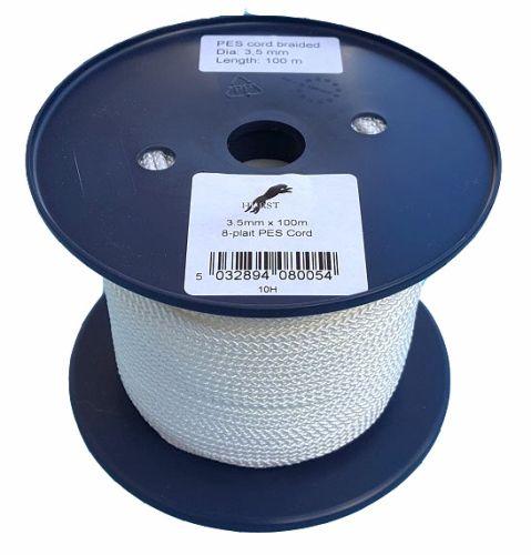 3.5mm x 100m White 8-plait Polyester Cord