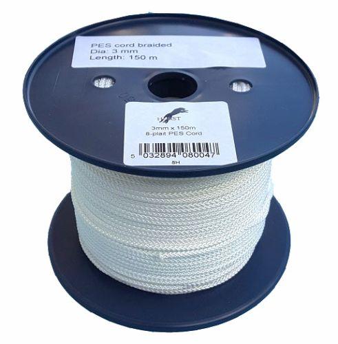 3mm White 8-plait Polyester Cord - 150m Reel