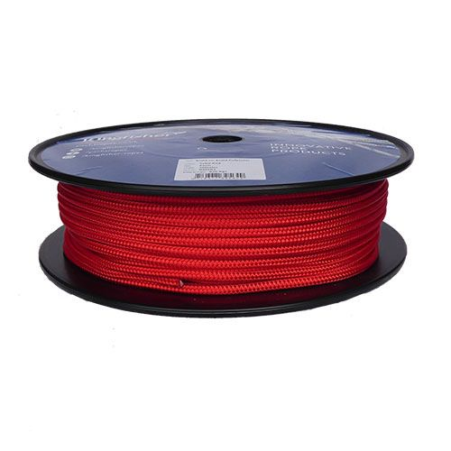 6mm Solid Red Braid on Braid Polyester - 100m reel