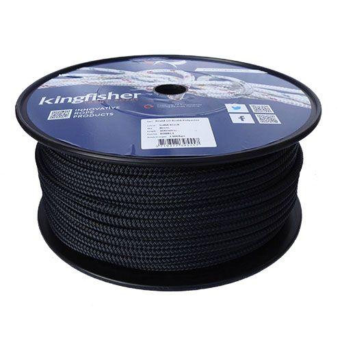 6mm Black Braid on Braid Polyester Rope - 100m reel
