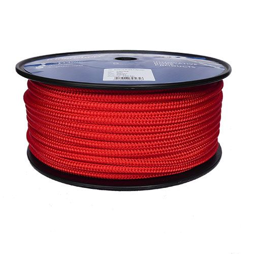 8mm Solid Red Braid on Braid Polyester - 100m reel