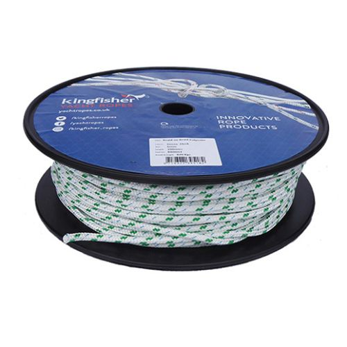 6mm Braid on Braid Green Fleck Polyester rope 100m reel