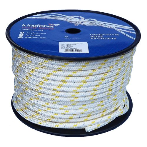 10mm braid on braid yellow fleck polyester rope 100m reel