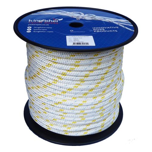 12mm braid on braid yellow fleck polyester rope 100m reel