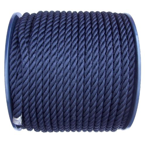 12mm Navy Blue Polyester Rope on a 100m reel