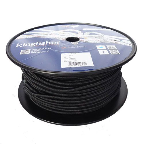 7mm Black Shock Cord sold on a 100m reel