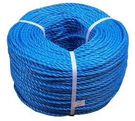 Blue polyester rope, often used in construction work
